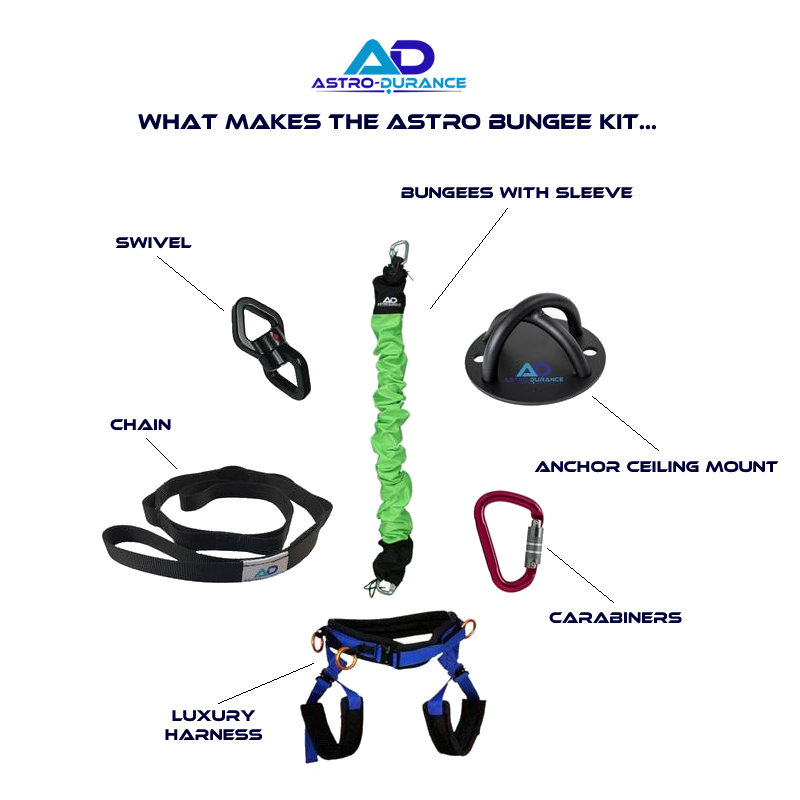 What makes the Astro Durance Bungee Fitness kit... Bungees with sleeve, swivel, anchor ceiling mount, carabiner, luxury harness, chain